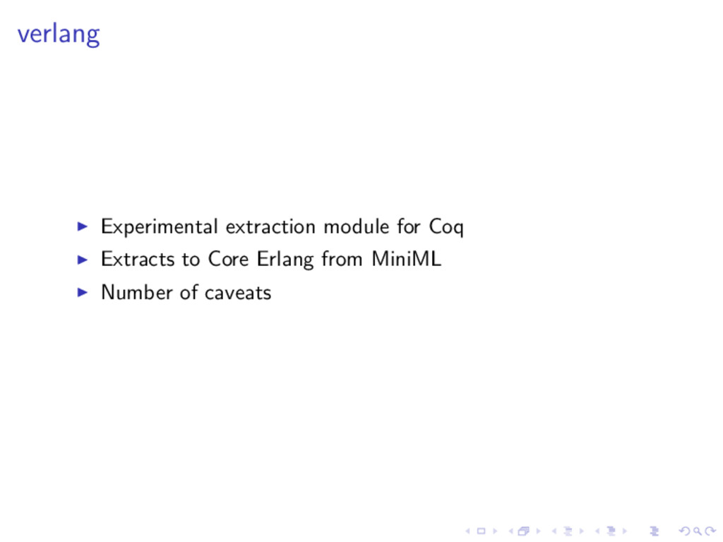 verlang Experimental extraction module for Coq ...