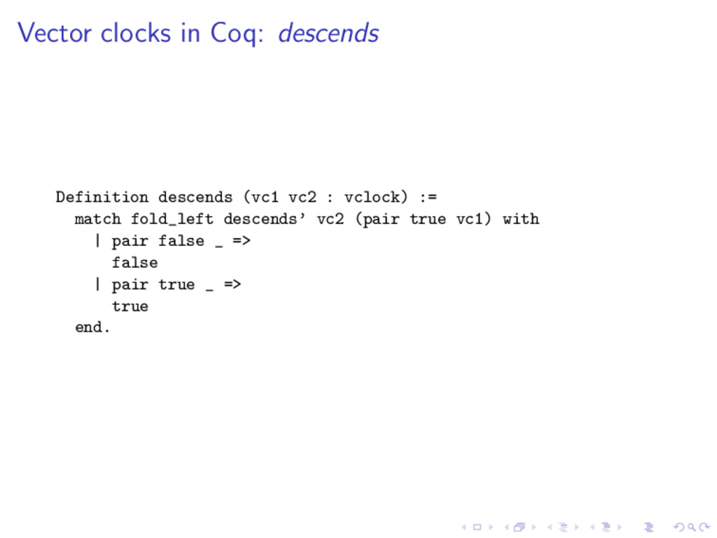 Vector clocks in Coq: descends Definition desce...