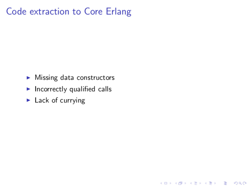 Code extraction to Core Erlang Missing data con...