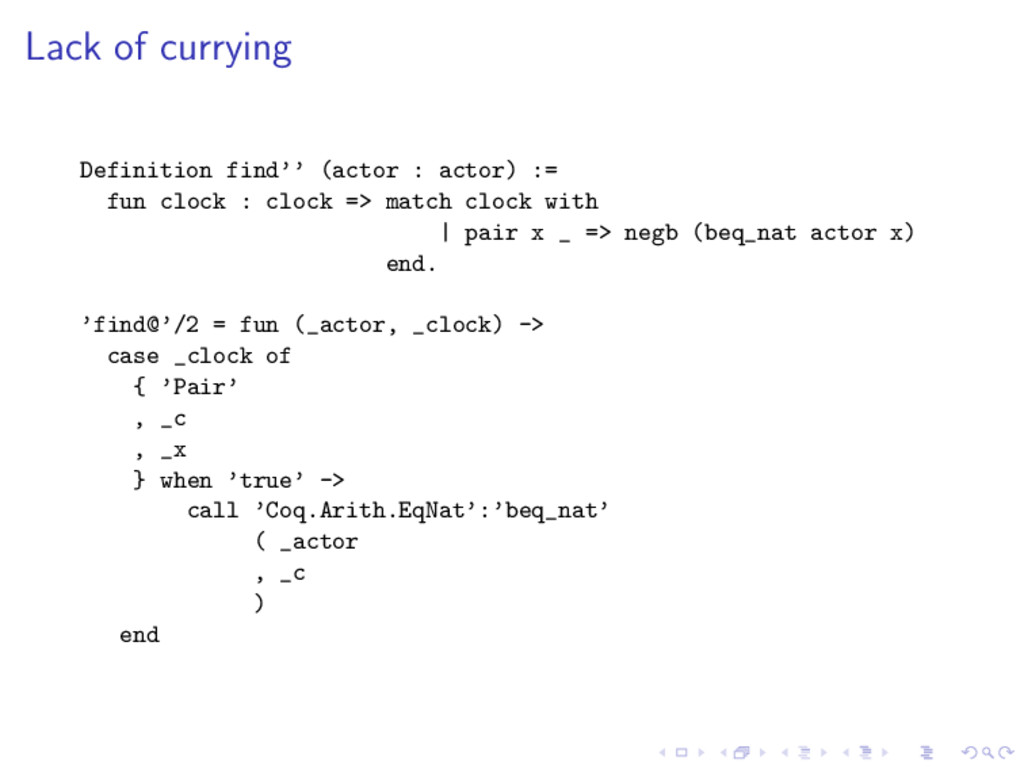 Lack of currying Definition find'' (actor : act...