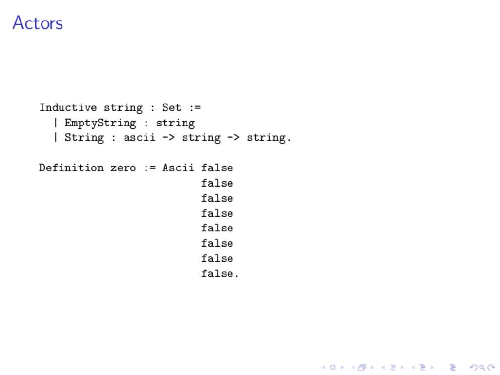 Actors Inductive string : Set := | EmptyString ...