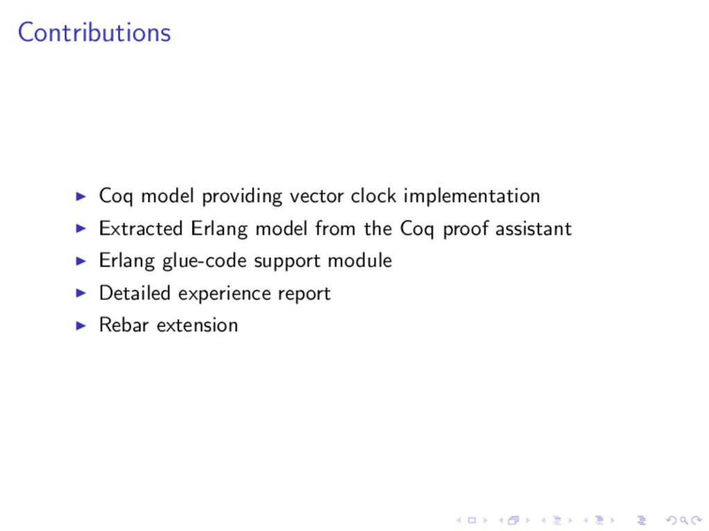 Contributions Coq model providing vector clock ...