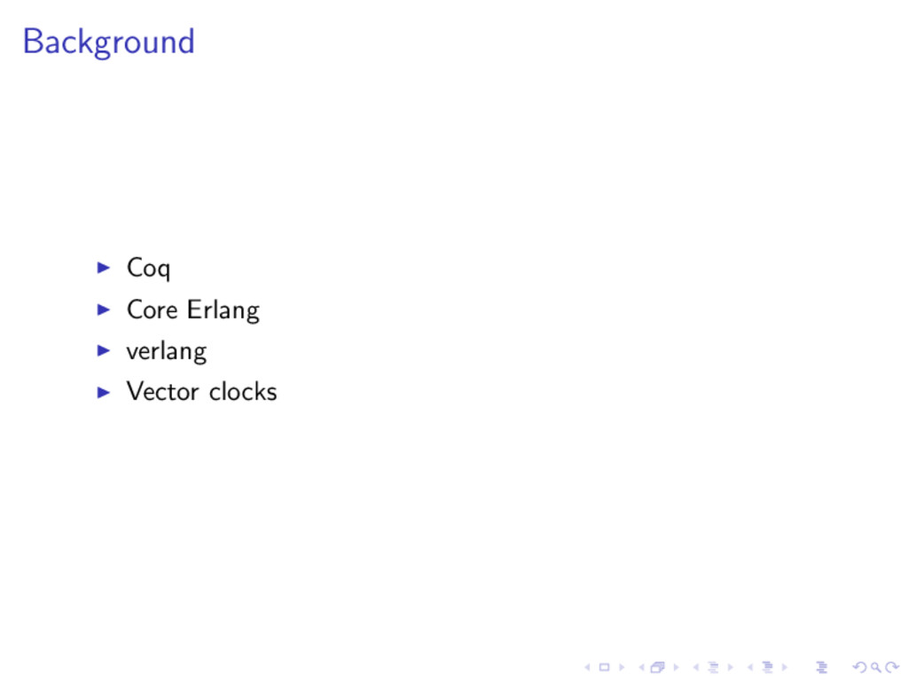 Background Coq Core Erlang verlang Vector clocks
