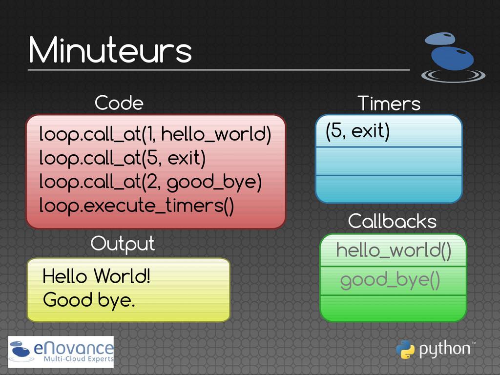 Minuteurs Callbacks Code loop.call_at(1, hello_...