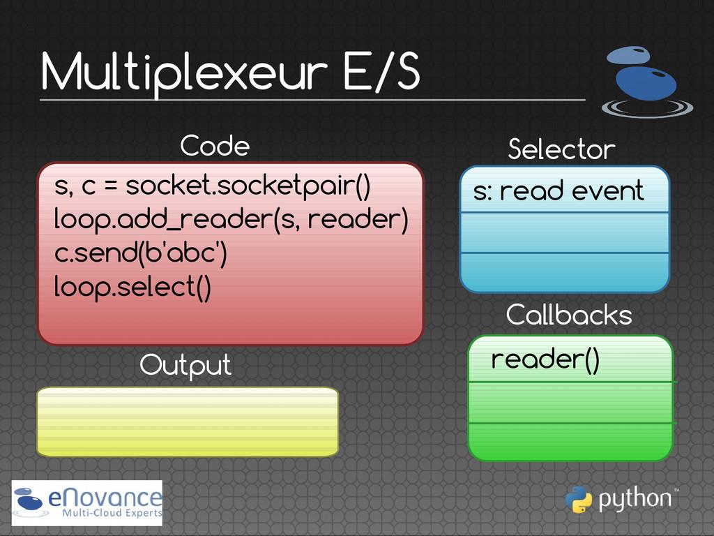 Multiplexeur E/S Callbacks Code s, c = socket.s...