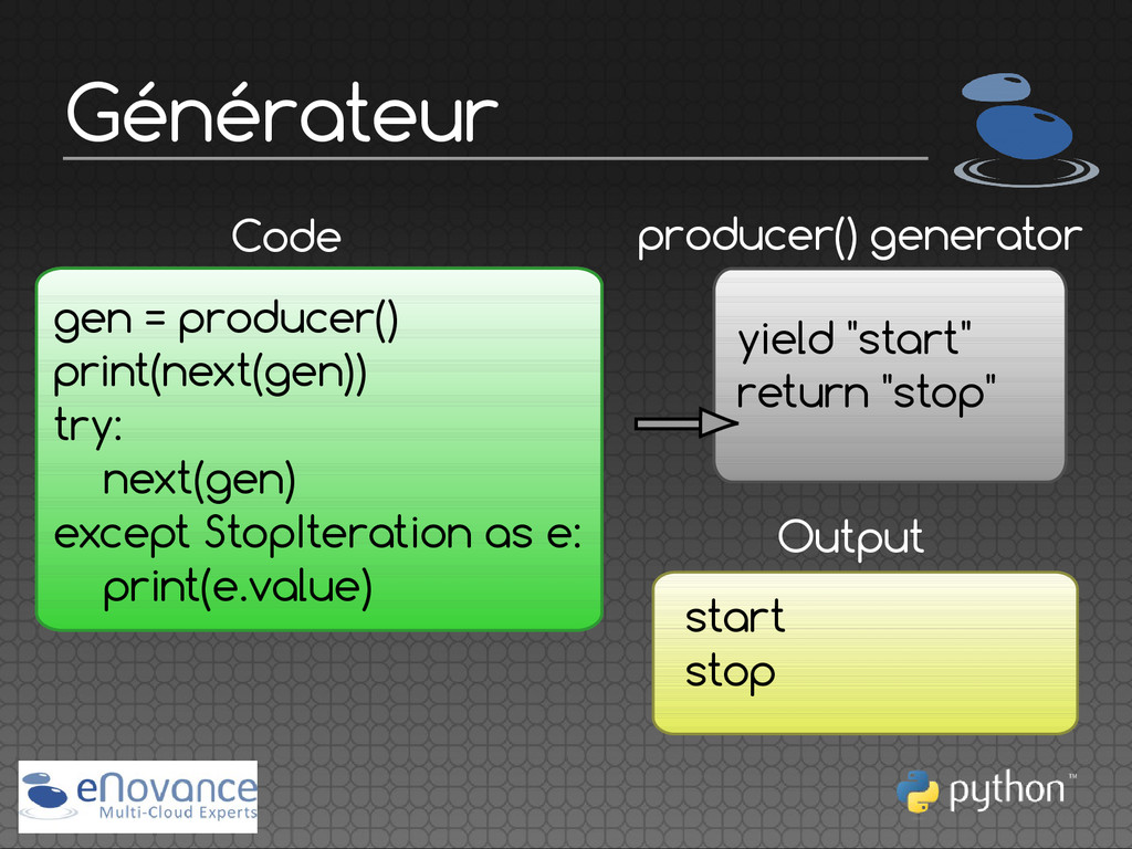 Générateur producer() generator Code gen = prod...