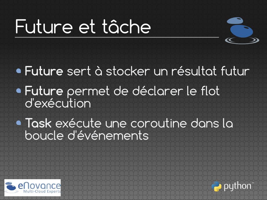 Future sert à stocker un résultat futur Future ...