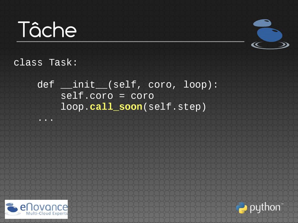 Tâche class Task: def __init__(self, coro, loop...