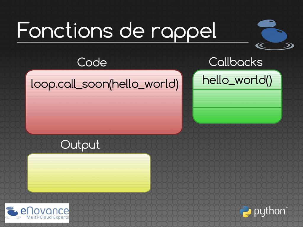 Fonctions de rappel Callbacks Code loop.call_so...