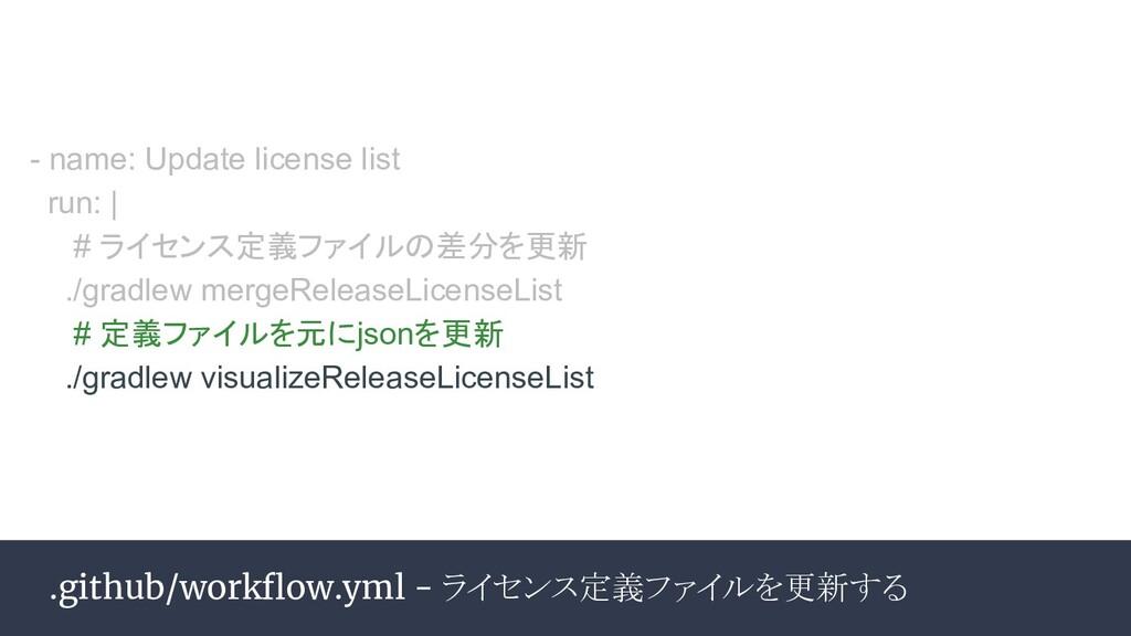 .github/workflow.yml - ライセンス定義ファイルを更新する - name: ...