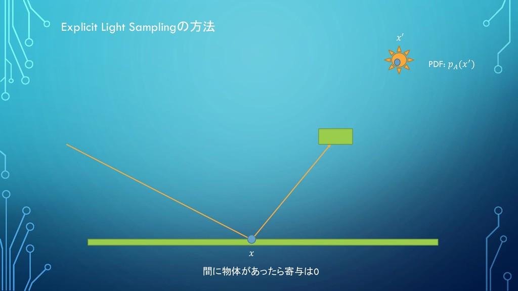 Explicit Light Samplingの方法 間に物体があったら寄与は0 PDF:  ...