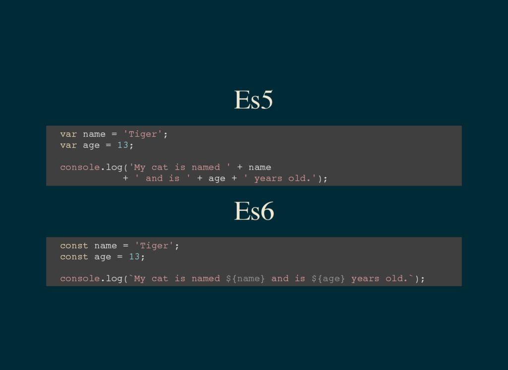 Es5 v a r n a m e = ' T i g e r ' ; v a r a g e...