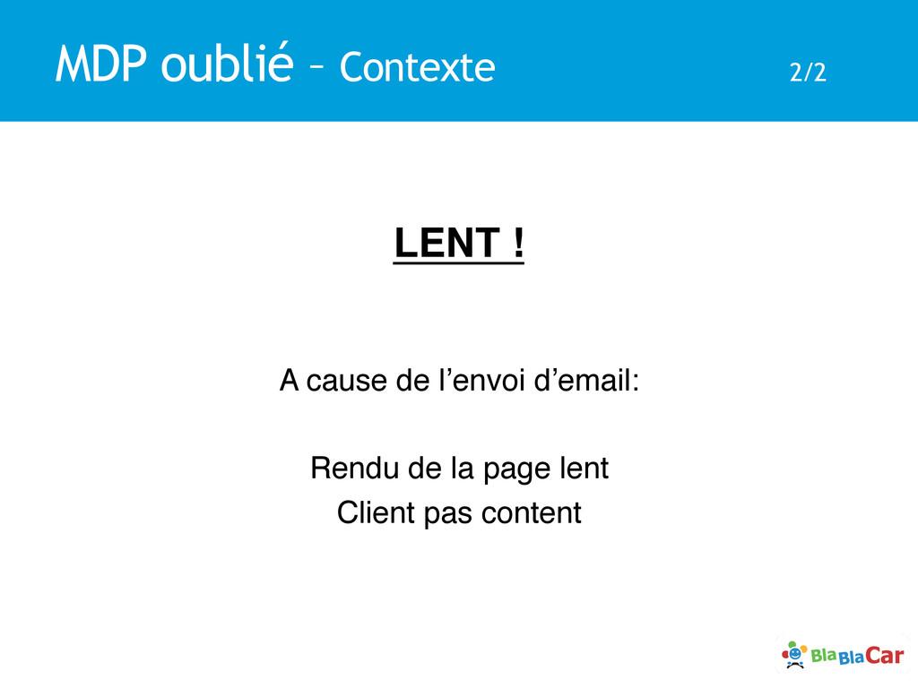 MDP oublié – Contexte 2/2 LENT !! ! ! A cause d...