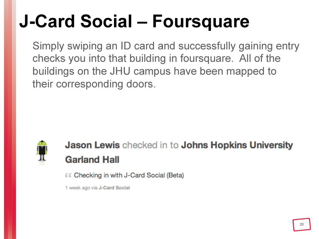 20 J-Card Social – Foursquare Simply swiping an...