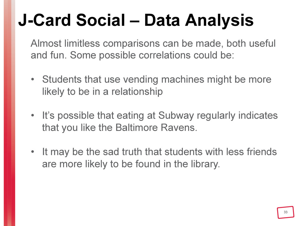 33 J-Card Social – Data Analysis Almost limitle...