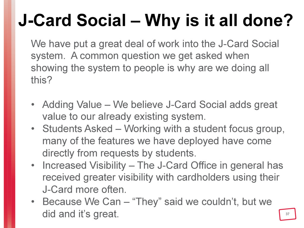 37 J-Card Social – Why is it all done? We have ...