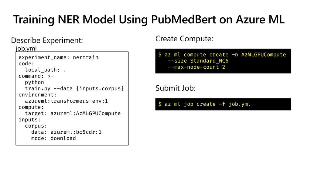 Training NER Model Using PubMedBert on Azure ML...