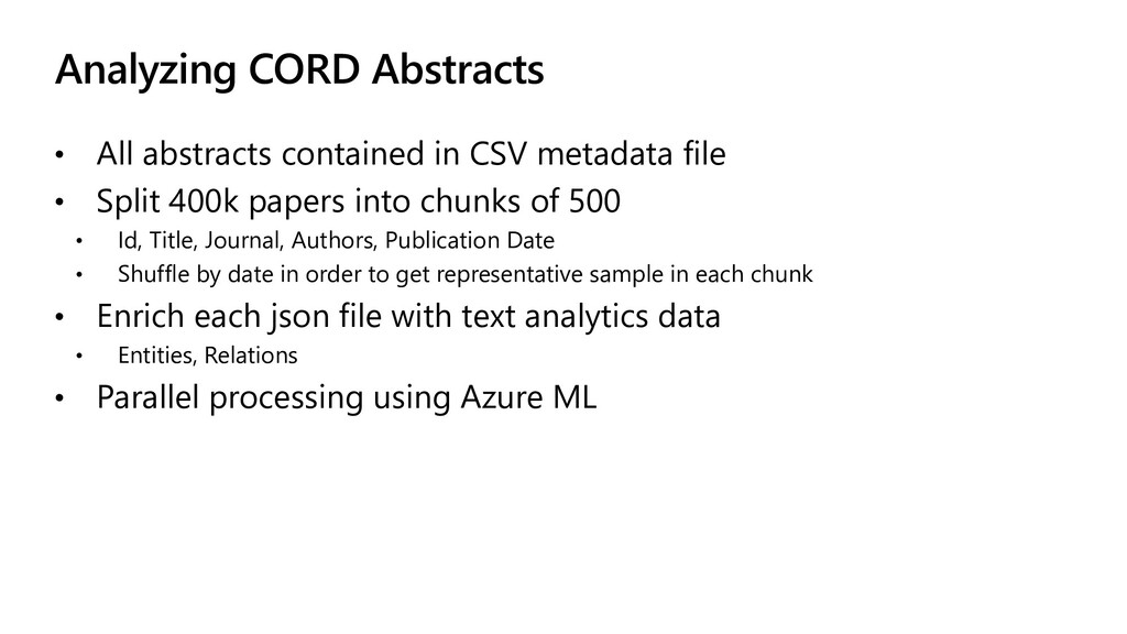 Analyzing CORD Abstracts • All abstracts contai...