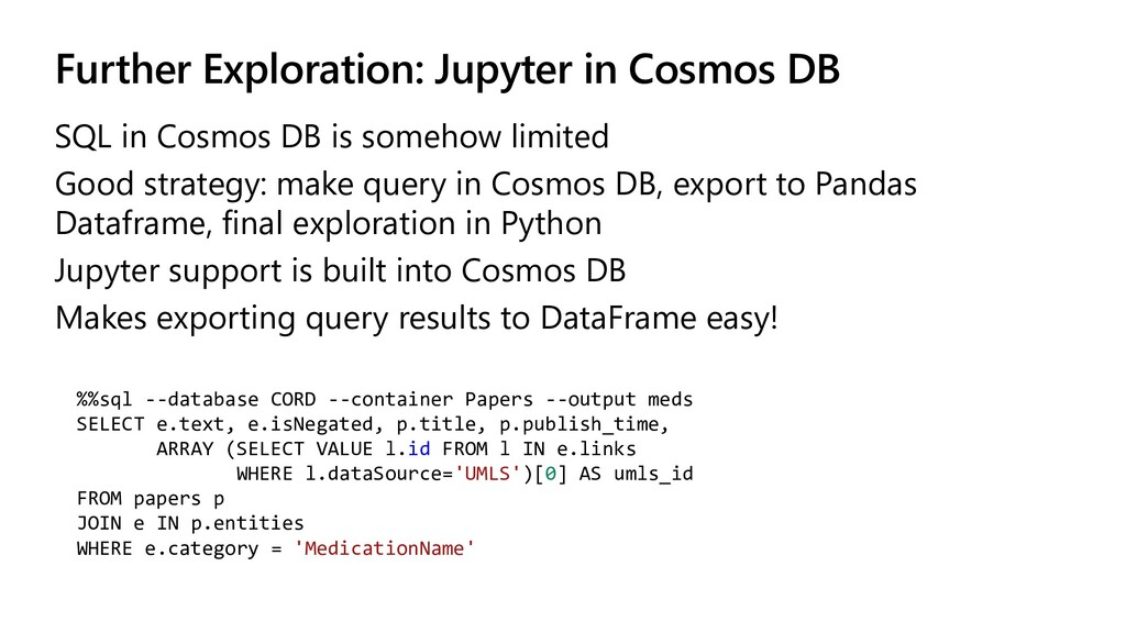 Further Exploration: Jupyter in Cosmos DB SQL i...