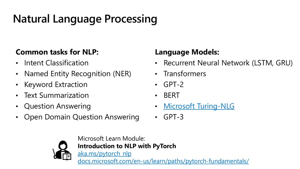 Natural Language Processing Common tasks for NL...