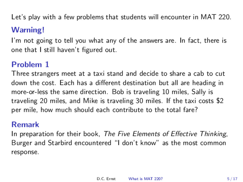 Let's play with a few problems that students wi...