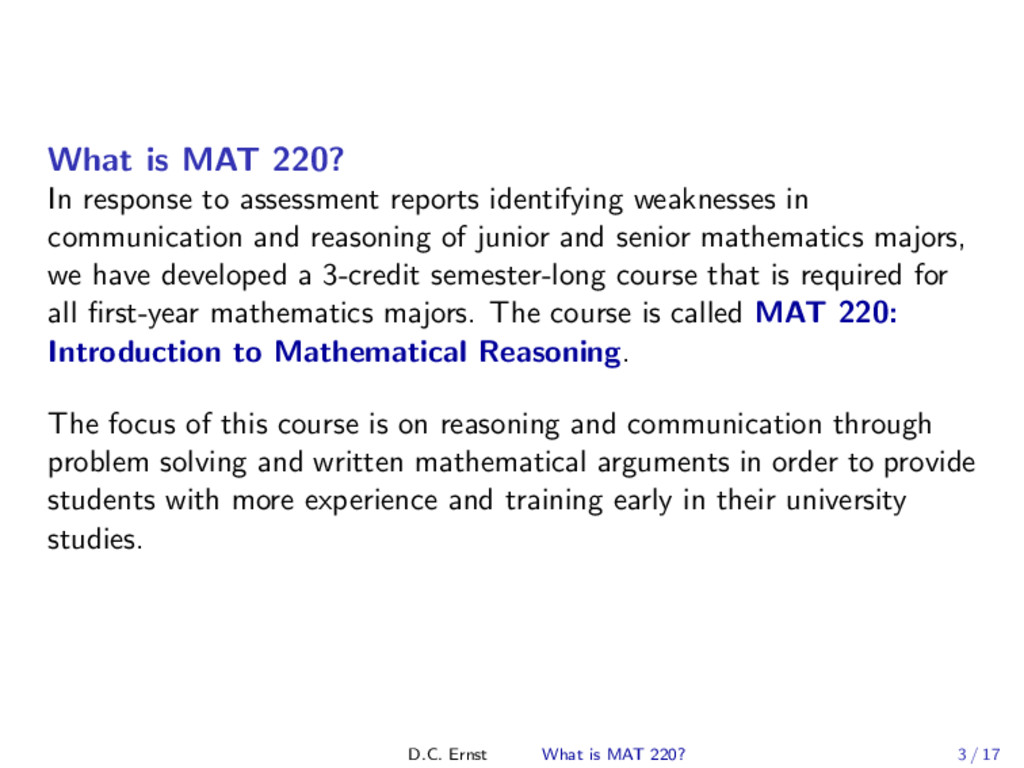 What is MAT 220? In response to assessment repo...