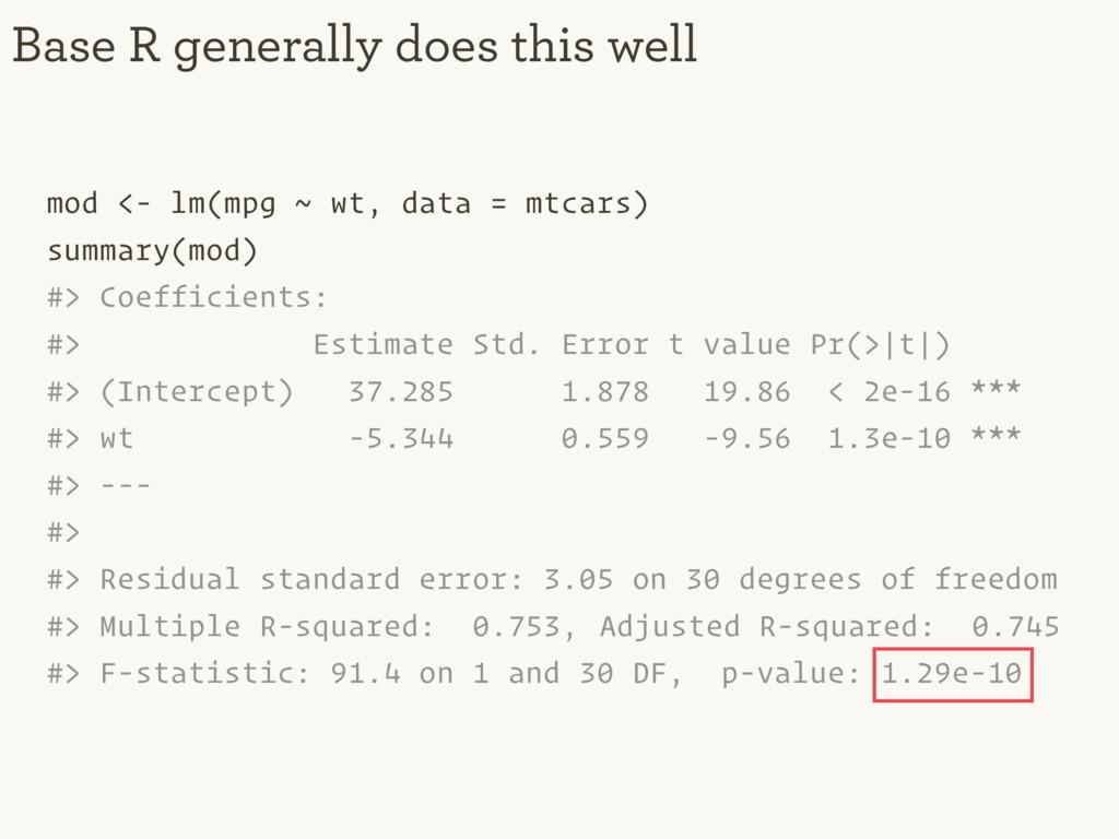 mod <- lm(mpg ~ wt, data = mtcars) summary(mod)...