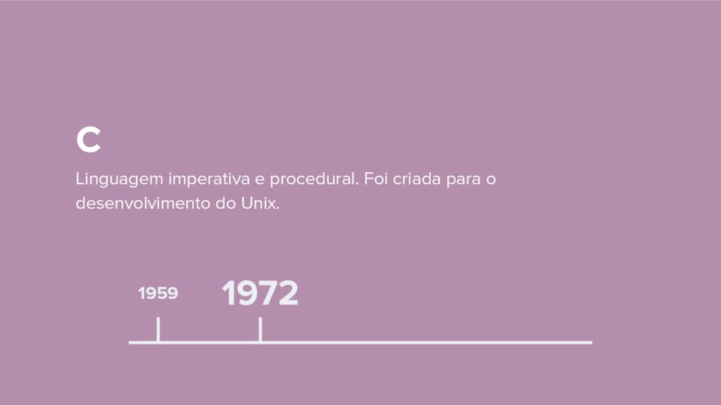 1959 C Linguagem imperativa e procedural. Foi c...