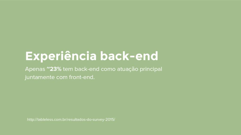 Experiência back-end Apenas ~23% tem back-end c...