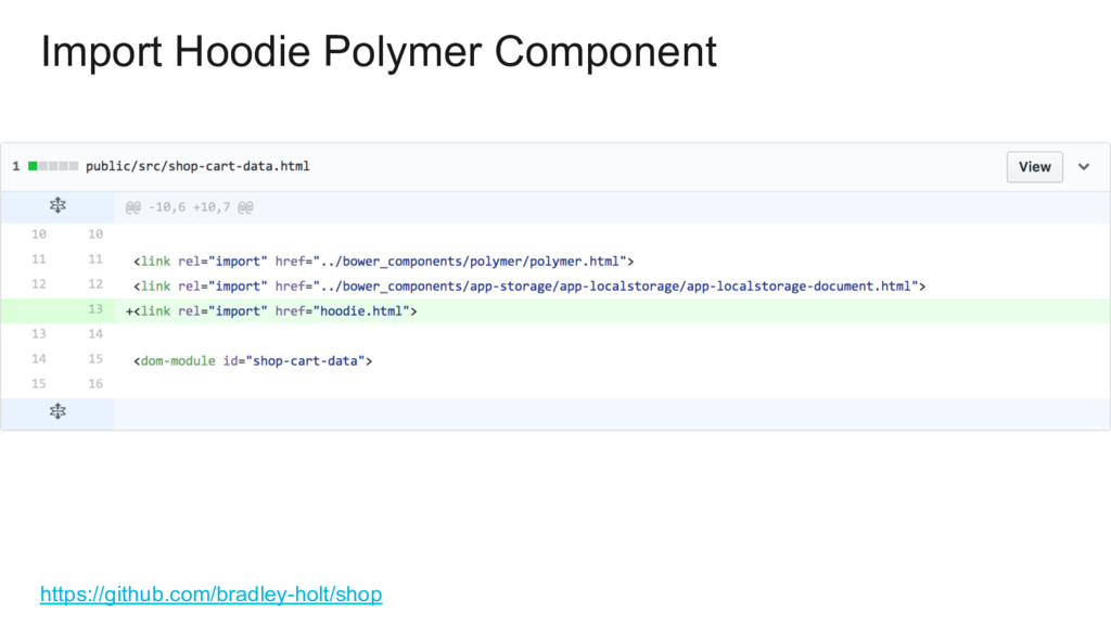 Import Hoodie Polymer Component https://github....