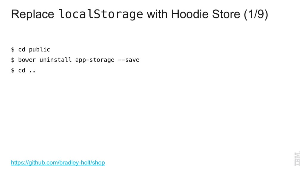 Replace localStorage with Hoodie Store (1/9) $ ...