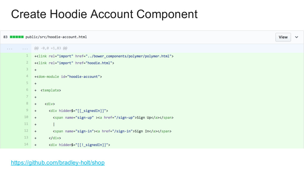 Create Hoodie Account Component https://github....