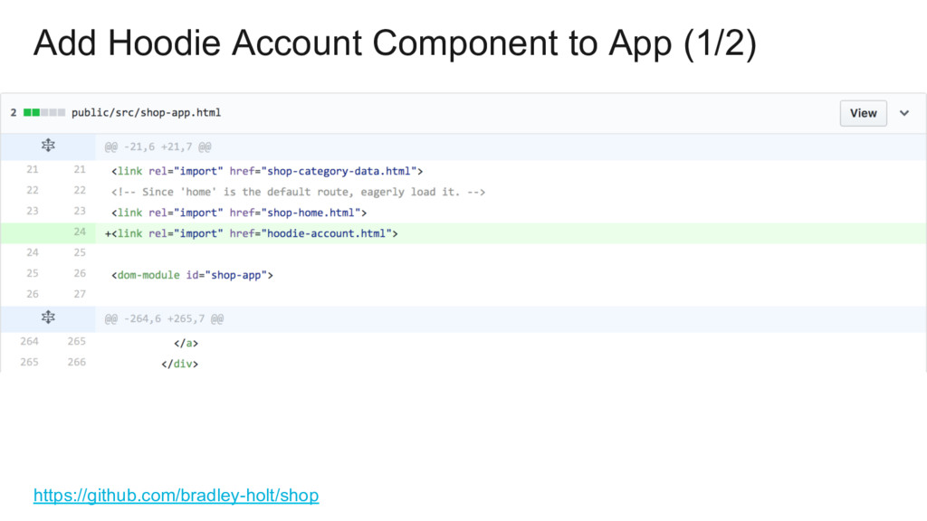 Add Hoodie Account Component to App (1/2) https...