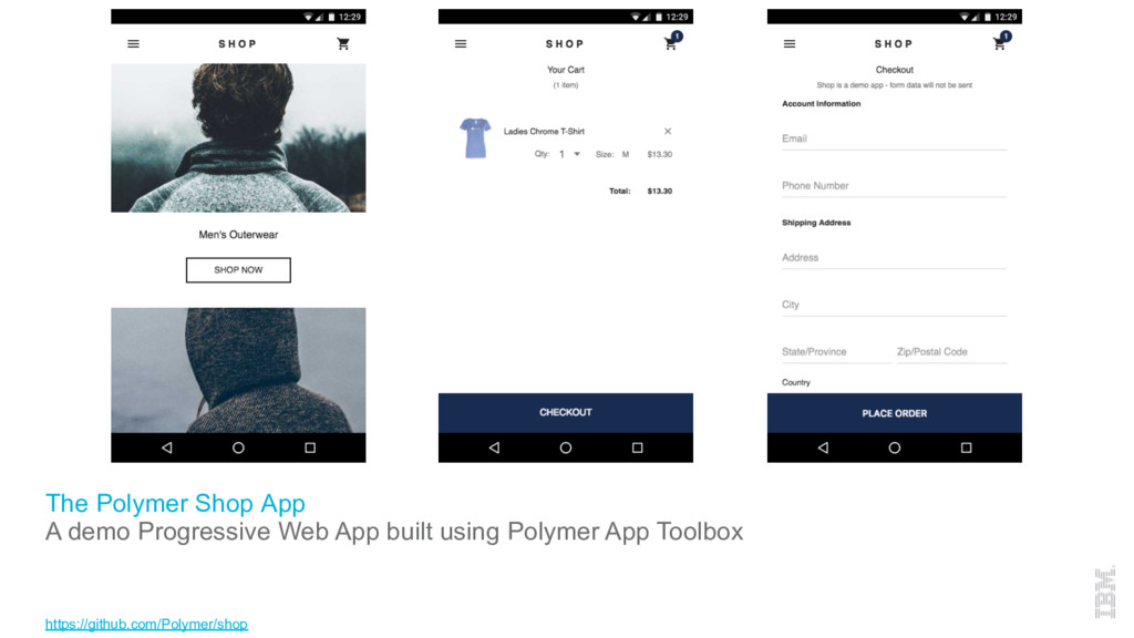 The Polymer Shop App A demo Progressive Web App...