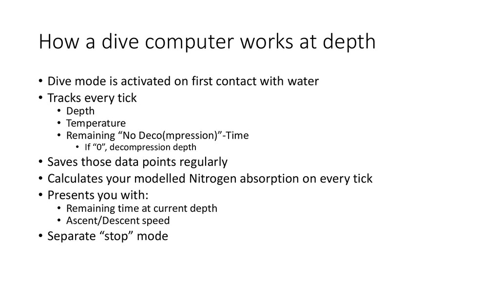 How a dive computer works at depth • Dive mode ...