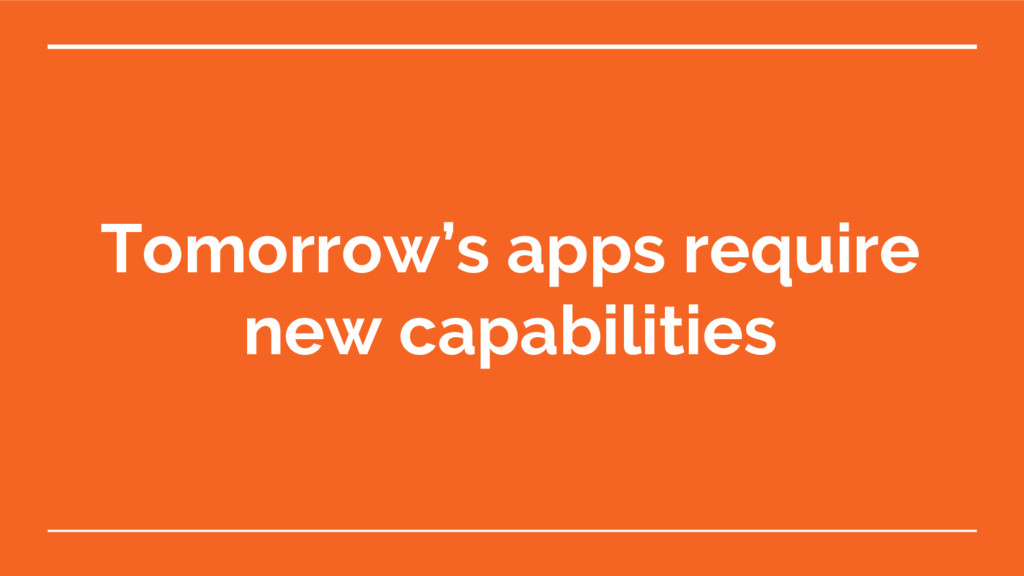 Tomorrow's apps require new capabilities