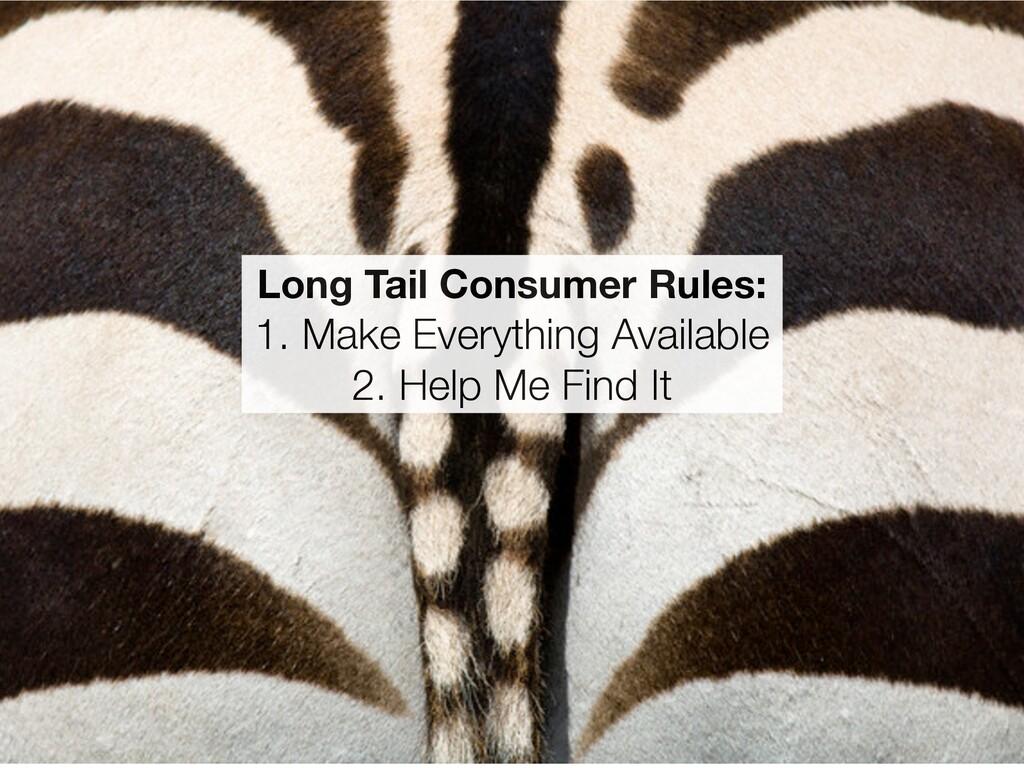 Long Tail Consumer Rules: 1. Make Everything Av...