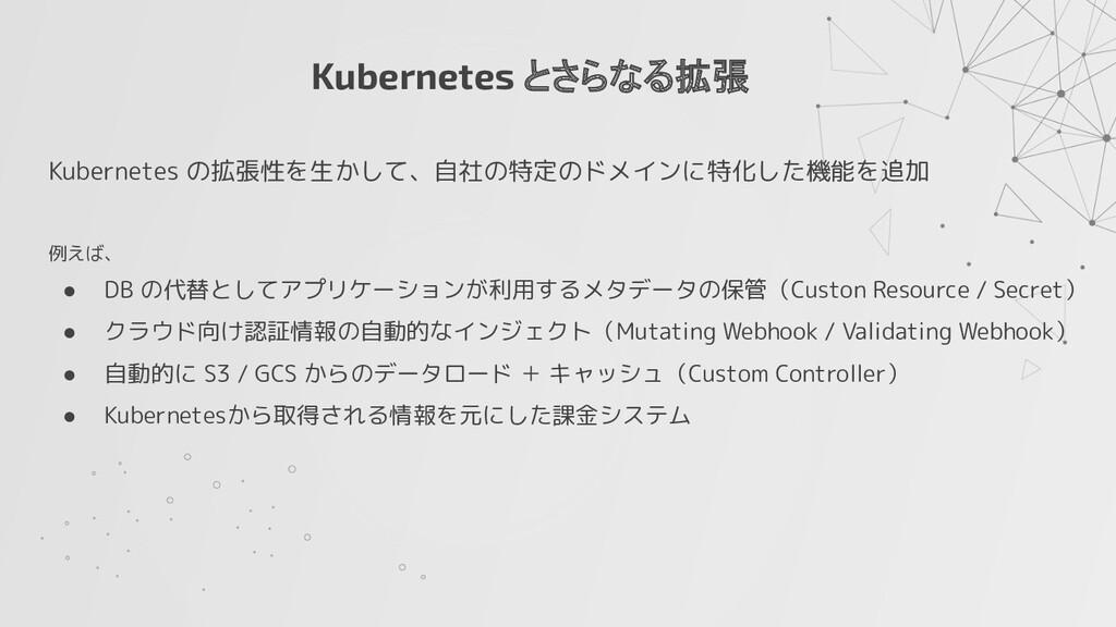 Kubernetes とさらなる拡張 Kubernetes の拡張性を生かして、自社の特定のド...