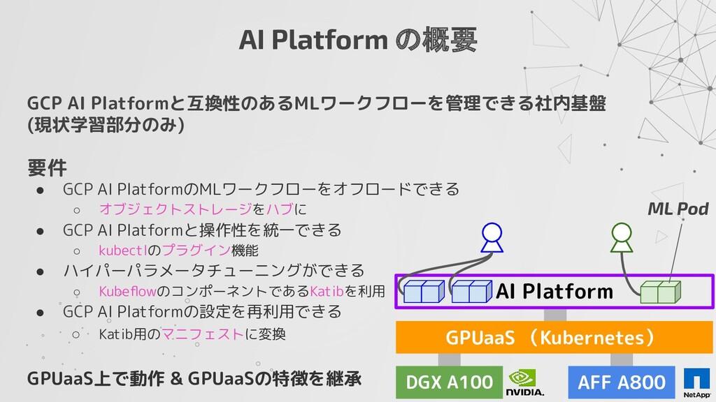 GCP AI Platformと互換性のあるMLワークフローを管理できる社内基盤 (現状学習部...