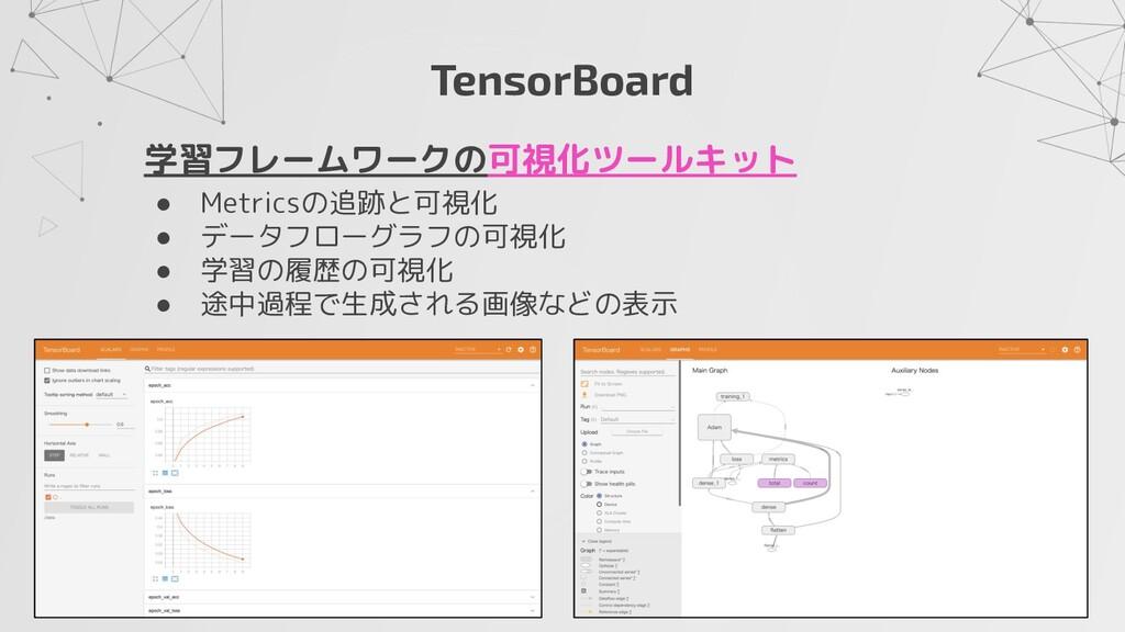 TensorBoard 学習フレームワークの可視化ツールキット ● Metricsの追跡と可視...
