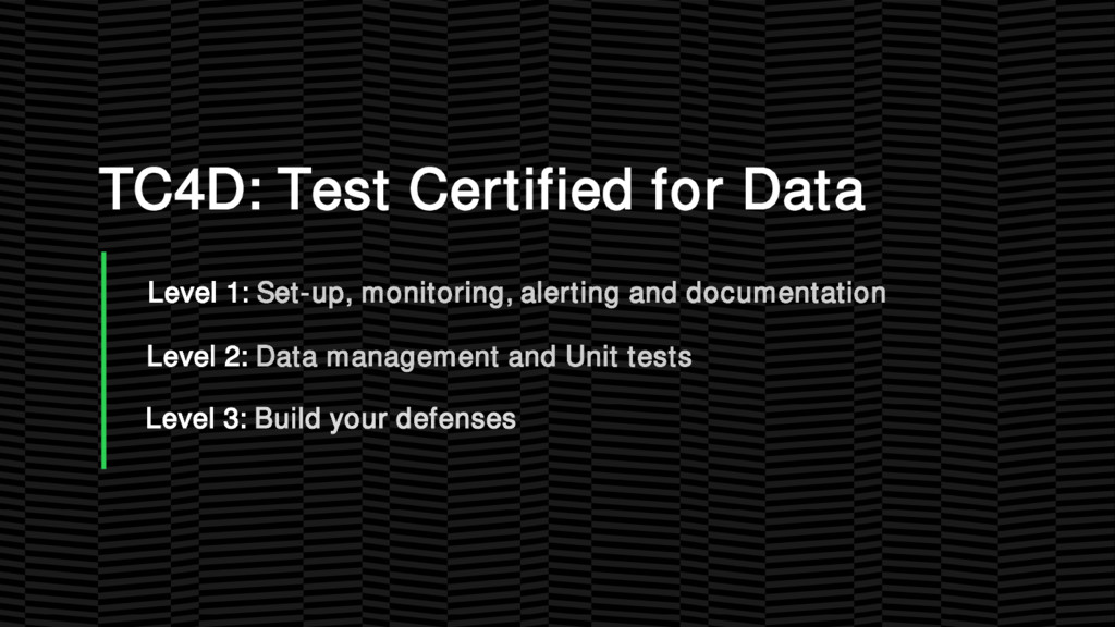 TC4D: Test Certified for Data Level 1: Set-up, ...