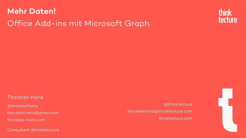 Mehr Daten! Office Add-ins mit Microsoft Graph ...