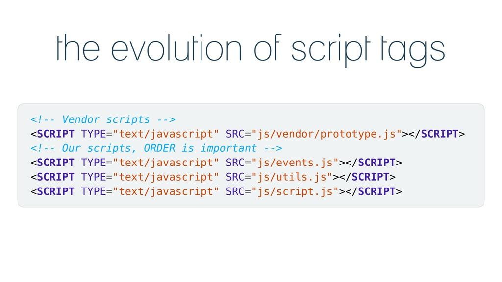 the evolution of script tags <!-- Vendor script...