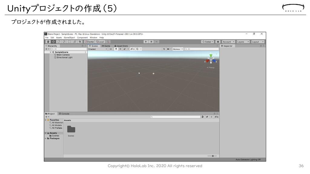 Unityプロジェクトの作成(5) プロジェクトが作成されました。 Copyright© Ho...
