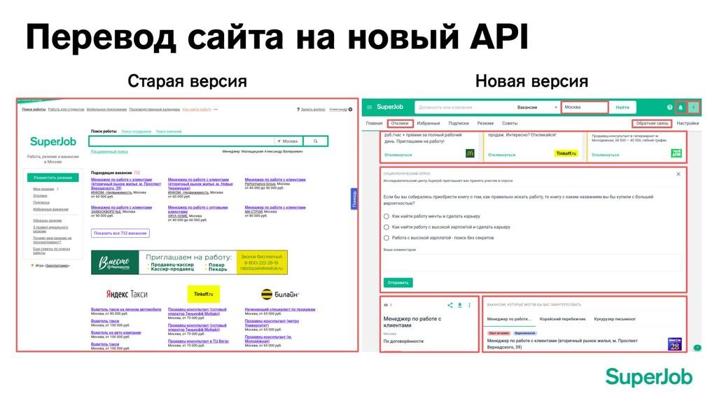 Перевод сайта на новый API Старая версия Новая ...