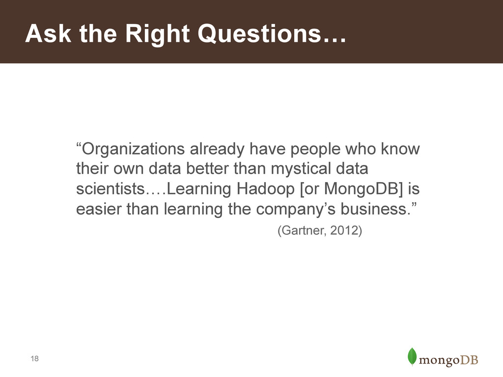 """18 Ask the Right Questions… """"Organizations alre..."""