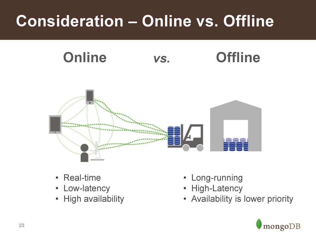 23 Consideration – Online vs. Offline • Long-r...