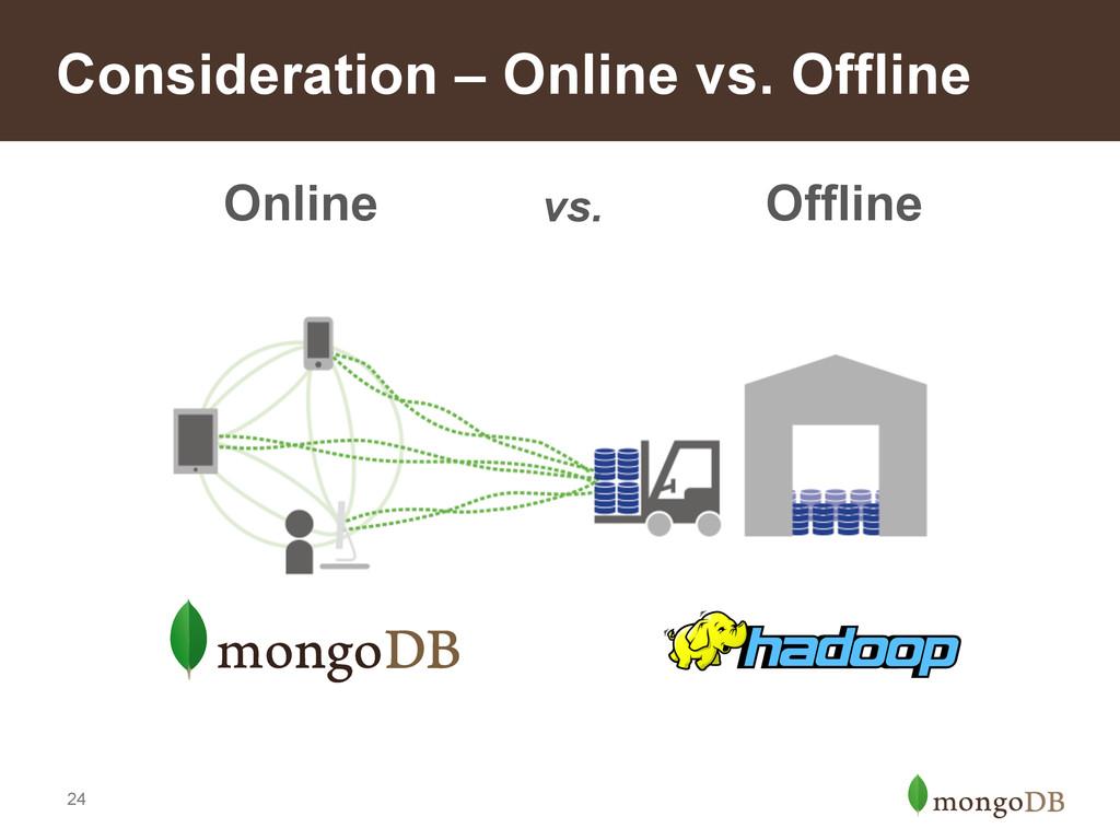 24 Consideration – Online vs. Offline Online Of...
