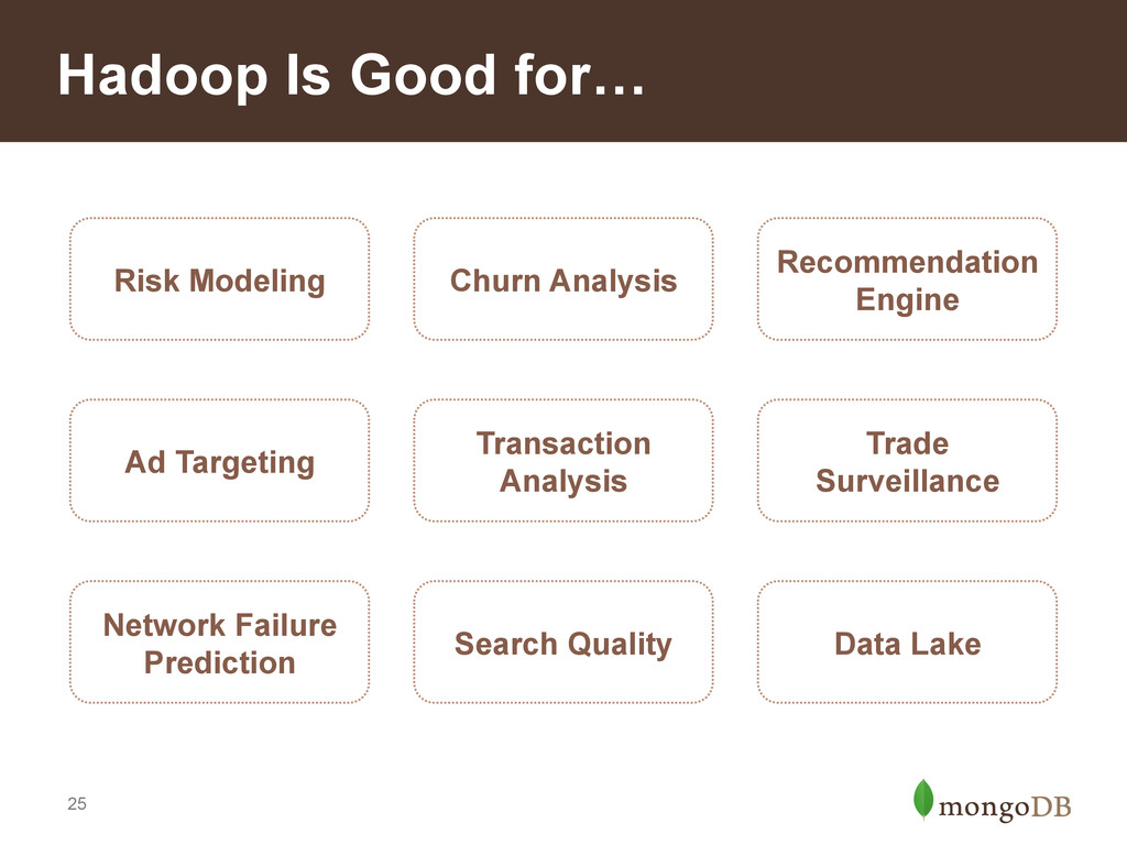 25 Hadoop Is Good for… Risk Modeling Churn Anal...
