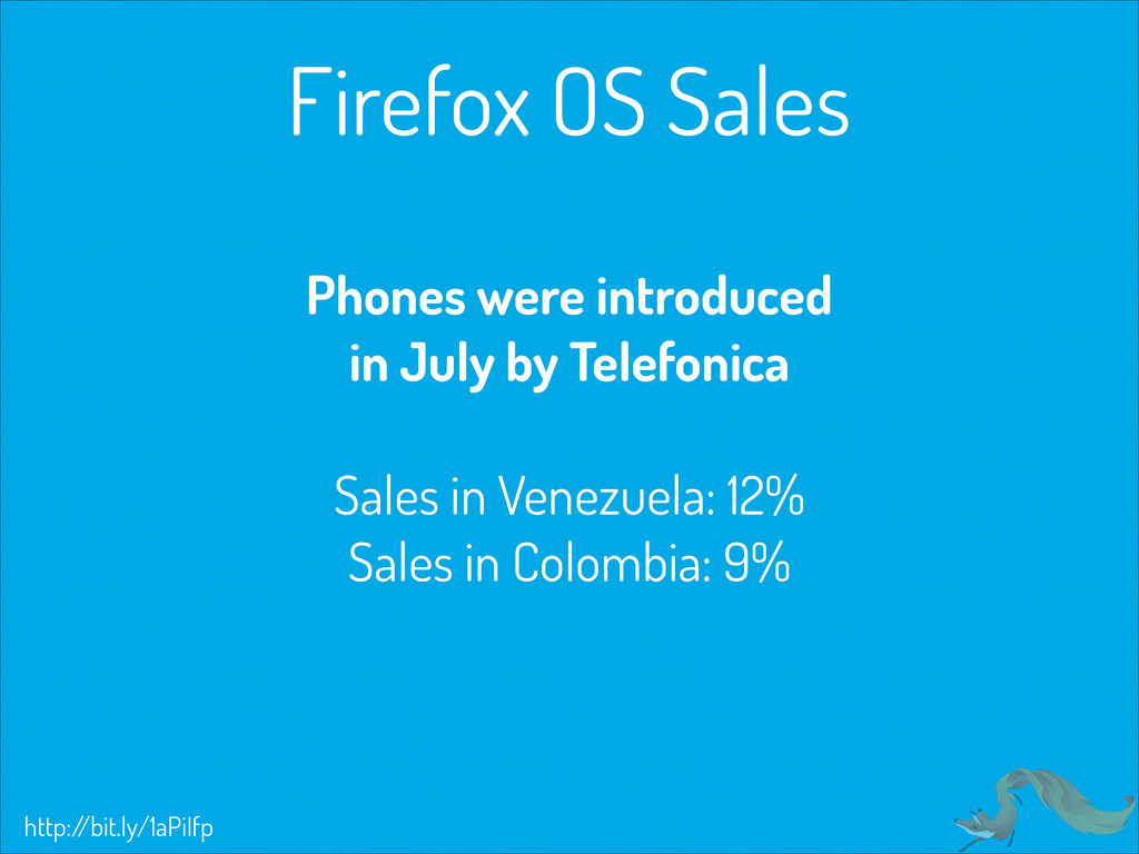 Firefox OS Sales Phones were introduced in July...
